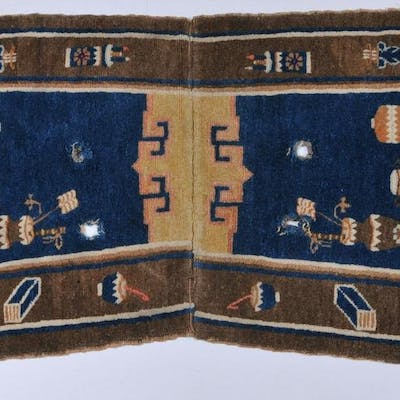 19th/20th century Chinese saddle bag carpet decorated