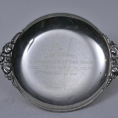 """Sterling silver presentation two-handle tray. """"1958"""