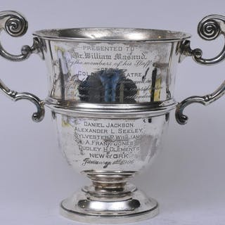Sterling silver large two handled trophy. 1906.