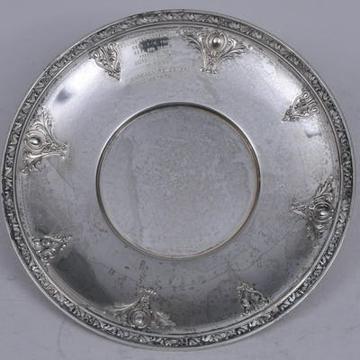"""Sterling silver round presentation plate. """"Rochester"""