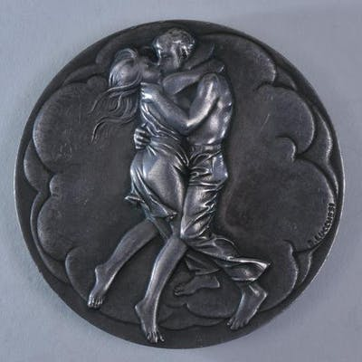 Silver Medal. Couple Embracing and Mother and Baby on