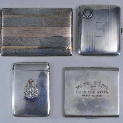Lot of four sterling silver cigarette cases. (1)