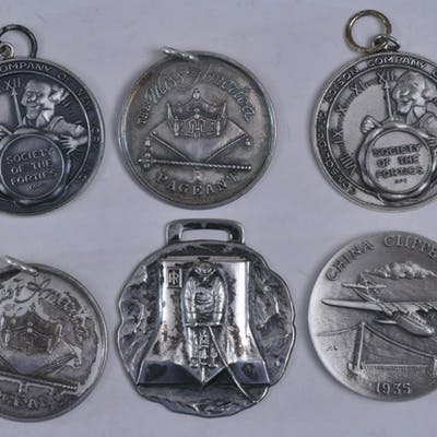 Lot of six silver medals. (1) China Clipper 1935 medal