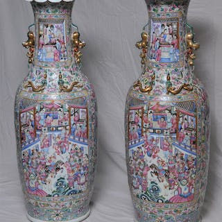 Pair of porcelain palace vases. China. 19th C. Baluster