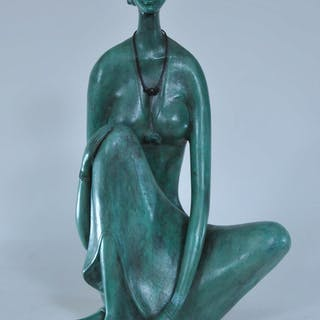 B. Prabha (India). Original rare bronze sculpture with