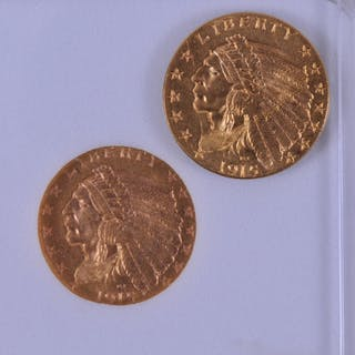 Lot of two 1915 U.S. Indian Head 2.5 dollar coins. One