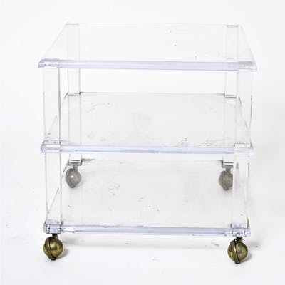Lucite Three-Tiered Side Table on Casters