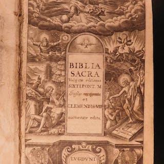 1663 RARE Biblia Sacra Holy Bible Latin Vulgate Pope