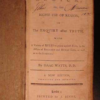 1792 1st ed Logic by Isaac Watts English Philosophy