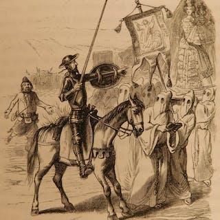 1858 Don Quixote Cervantes Chivalry French Grandville