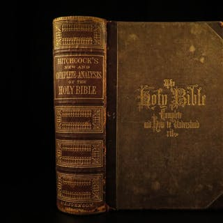 1870 Holy BIBLE & Hitchcock Complete Analysis Gruden