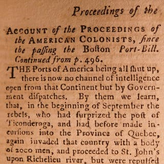 1775 American Revolution Gentleman's Magazine Holy Land