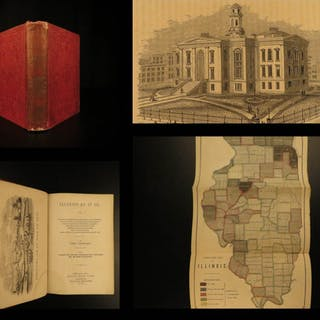 1857 1ed Illinois Native American Indians Tribes MAPS