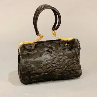 3a7cce3f3387 沒多長時間了! The Swan Collection Black Russian Broadtail Evening Bag