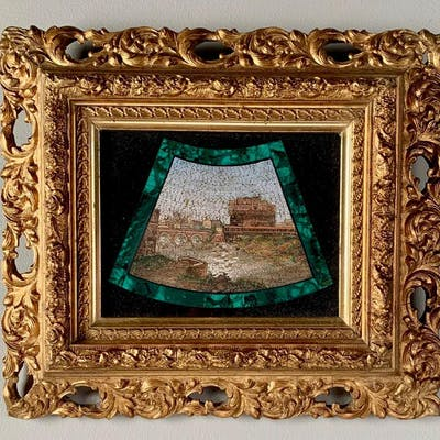 Malachite and Pietra Dura Micro Mosaic, 19thc.