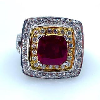 Ladies 14K White Gold Ruby and Diamond Ring