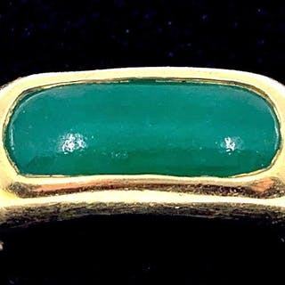 Gentleman's 18K Yellow Gold and Jade Ring