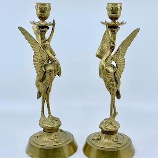 Pair of Brass Egret Form Candlesticks, Late 19thc.