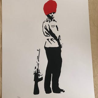 """Banksy """"Pissing Guard - Red"""""""