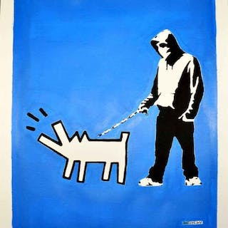Banksy (After) - Hoodie and Haring Dog (on Blue Bkgrd)
