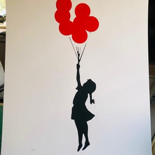 Banksy-Flying Red Balloon Girl