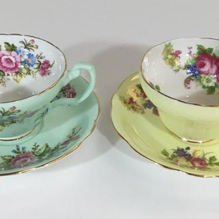 PAIR OLD FOLEY TEACUPS FLORAL GREEN AND YELLOW