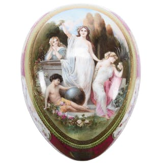 """Covered Egg-Shaped Box, Marked Beehive 5"""" X 7"""""""