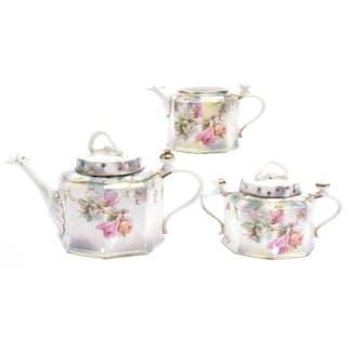 Three Piece Tea Set, Marked R.S. Prussia