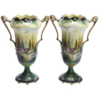 Pair Two Handled Pedestal Vases, Marked R.S. Prussia