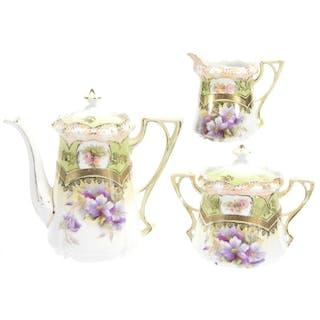 Three Piece Tea Set, Unmarked R.S. Prussia