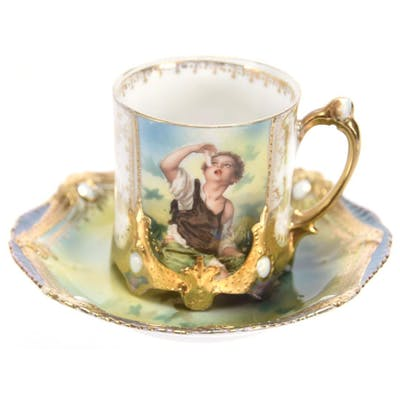 Demitasse Cup & Saucer, Marked R.S. Prussia