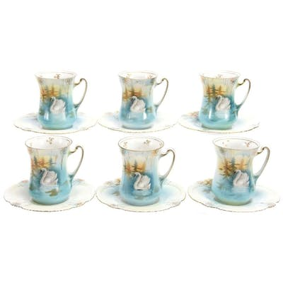 (6) Chocolate Cups & Saucers, Unmarked R.S. Prussia