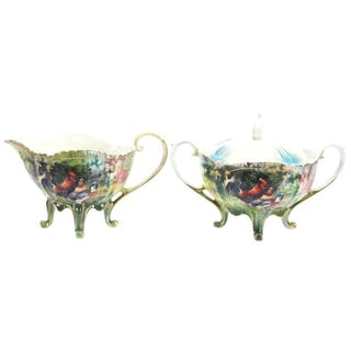 Footed Creamer & Sugar, Marked Wheelock Prussia