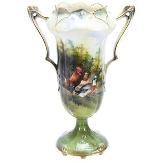 """Two Handled Pedestal Vase, Marked R.S. Prussia 9.75"""""""