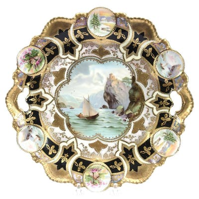 """Cake Plate, Marked R.S. Prussia 11.25"""""""