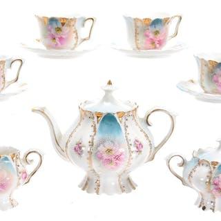 11-Piece Child's Tea Set, Floral Scene