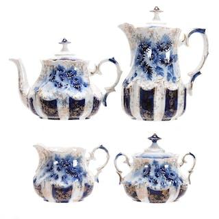 4-Piece Tea Set, Unmarked Prussia, Cobalt Blue