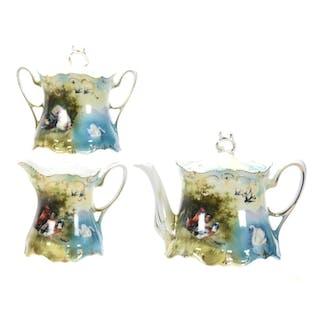 3-Piece Tea Set, Wheelock Prussia, Triple Scene