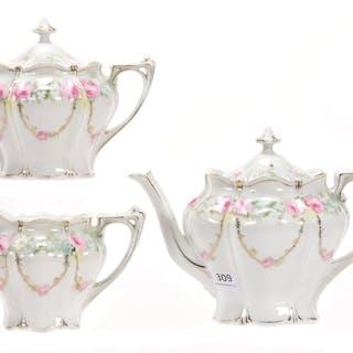3-Piece Tea Set, Marked RSP, Floral Scene