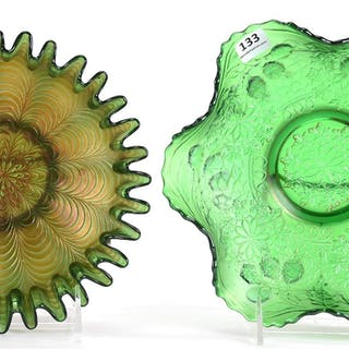 (2) Carnival Glass Bowls, Green by Fenton