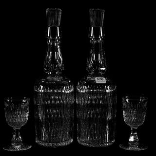 Pair Whiskey Decanters and Wine Glasses, ABCG