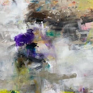 Jorn Fox Abstract Oil and Acrylic on Canvas Signed