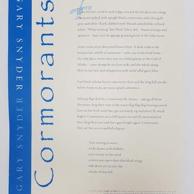 Cormorants - Broadside Snyder, Gary Broadsides,New Additions,Poetry