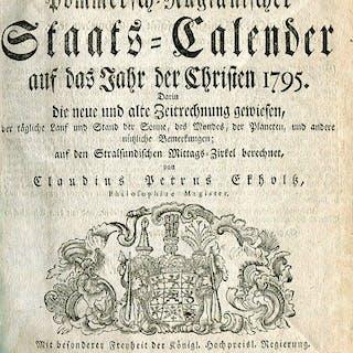 Schwedisch-Pommersch-Rügianischer Staats-Calender auf das Jahr der Christen 1795