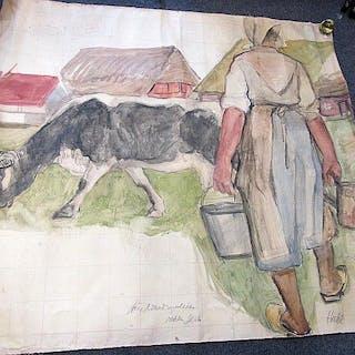 Entwurf für ein Wandgemälde * Magd mit Kuh auf Bauernhof*