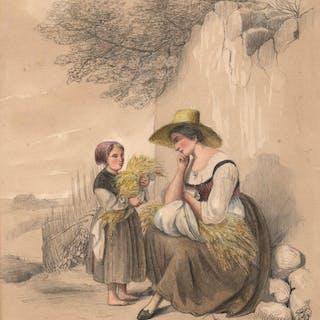 Mutter und Tochter bei der Ernte - die Mutter bei einer Rast. Ernte