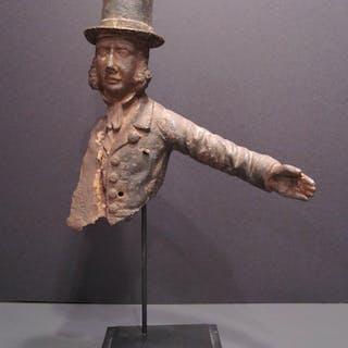 08079b5dd86 ANTIQUE AMERICAN FOLK ART STYLE IRON TOP HAT MAN REMNANT INTERIOR DECORATE  RARE – Current sales – Barnebys.com