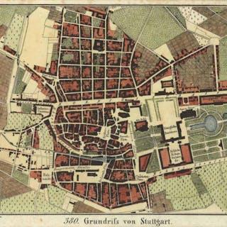 Stadtplan ('Grundriss von Stuttgart'). STUTTGART: Alte Stadtansichten