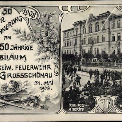 Passepartout Ansichtskarte / Postkarte Großschönau in Sachsen