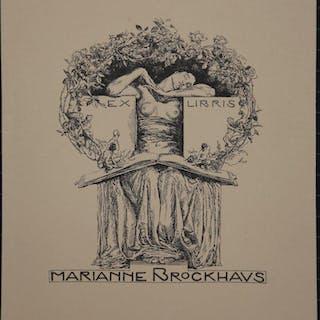 Exlibris: Weiblicher Halbakt
